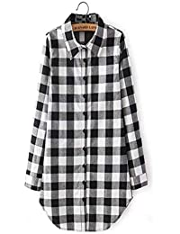 Tery Moda y Simple Camisa a Cuadros Top Casual Mujer Blusa Larga Camisa a Cuadros Escoceses (Color : Black, tamaño : M)