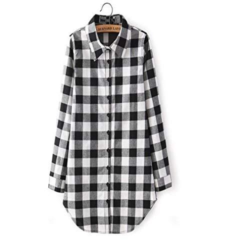 Material Umweltschutz Frauen Casual Top Kariertes Hemd Lange Bluse Scottish Plaid Check Shirt (Farbe : Black, Größe : M) -