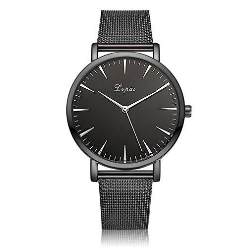 Souarts Damen Armbanduhr Einfach Mesh Metallarmband Casual Analoge Quarz Uhr Schwarz