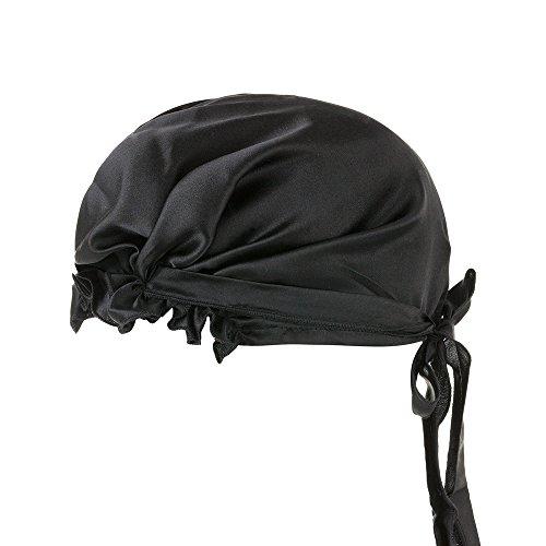 LULUSILK Seide Schlafmütze Nacht Mütze Nachtkappe Kopfbedeckung mit Band, Schwarz