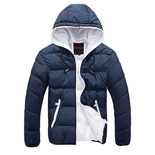 Highdas New Mens Winter Leisure hommes cagoul¨¦s rembourrage ¨¦pais Manteau Zipper Thin-v¨ºtement Homme Vestes Blanc & Bleu