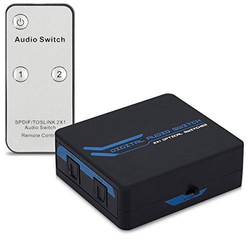kwmobile Digital Audio Verteiler Switch - 2 facher Umschalter Adapter für optische SPDIF Toslink Audiokabel mit IR Fernbedienung - 2x1 Wandler