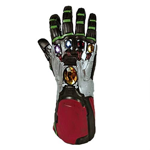 Helm 3 Iron Mann Kostüm - QWEASZER Marvel Avengers: Endspiel 4 Iron Man Infinity Gauntlet, Halloween-Cosplay-Handschuhe mit Energiesteinen Herren Movie Fancy Dress Party Deluxe Edition Zubehör,Iron Man-OneSize