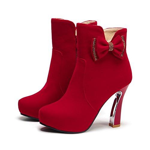 VogueZone009 Damen Rund Zehe Knöchel Hohe Hoher Absatz Rein Stiefel mit Schleife Rot