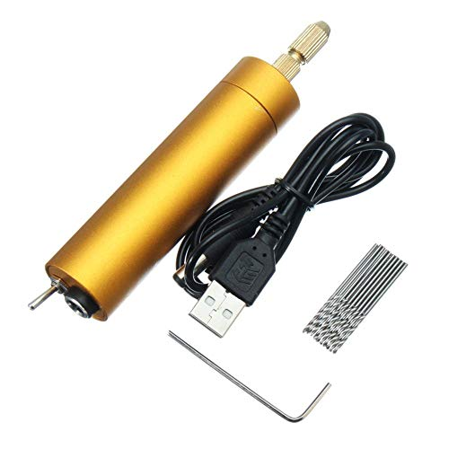 Mini kleine elektrische Handbohrmaschine, Bohrmaschine mit 10 Spiralbohrer,Mikro Handbohr Drillbohrer für Hobby,DIY