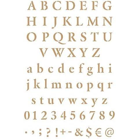 Stencil Deco Abecedario 023. Medidas aproximadas: Medida exterior del stencil: 20 x 30 cm Medida del diseño: 2,1 x 1,6 cm Medida de la M mayúscula: 2,1 x 1,6 cm Medida de la m mínuscula: 1,9 x 1,1