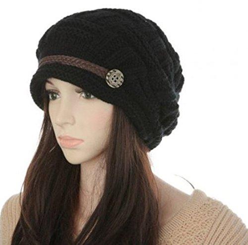DAYAN La temporada de otoño - invierno las chicas de sombrero gorra de lana Beanie Cap color negro