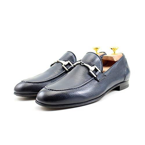 Giorgio Rea Mocassins Homme Bleu Elégant Fait Main Homme Chaussures Fait Main En Italie Bleu Marine