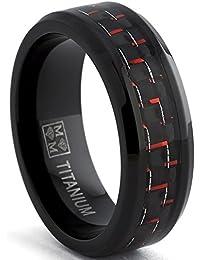 Ultimate Metals Co. Schwarz Herren Titan Ehering Mit Schwarz Und Rot Kohlefaser-Einlage,Bequemlichkeit Passen 8mm,Größe 54 to 70