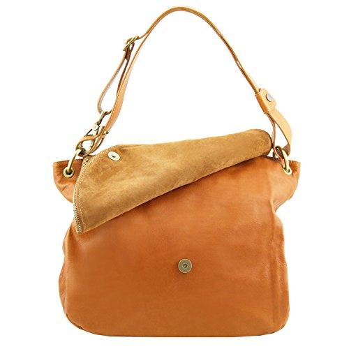 Tuscany Leather - TL Bag - Borsa morbida a tracolla con nappa Rosso - TL141110/4 Nero