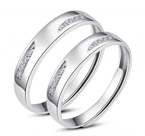 Unendlich U Fashion 925 Sterling Silber mit Platin Liebe Augen Zirkonia Vestellbar Paar Ringe Verlobungsringe Trauringe Eheringe - Platin Männer-verlobungsringe,