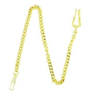 NICERIO Metall klassische Vergoldete Uhr Uhr Kette Schlüsselanhänger, Golden, 35CM (Länge)