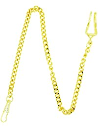 NICERIO Metal clásico plateado cadena de reloj de bolsillo cadena dominante, de oro, 35cm (longitud)