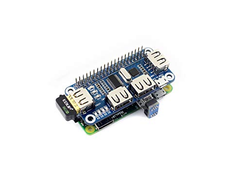 Waveshare 4 Port USB HUB Hubs Hat for RPi Raspberry Pi Zero/Zero W/A+/B B+ 2 3 Model B Compatible with USB2.0/1.1 Serial Debugging Onboard USB to UART Provides More USB Capability