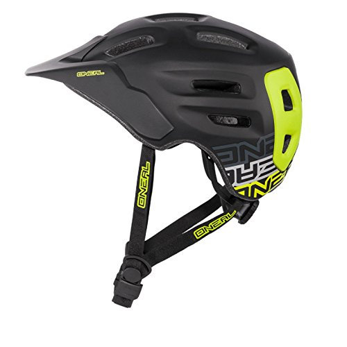 O'Neal Defender Helm Flat Schwarz Neongelb All Mountain Enduro Trail MTB Fahrrad, 0502D-90, Größe M (56- 59 cm)