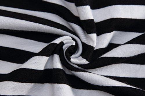 Pizoff Unisex Hip Hop Urban Basic langes T Shirts mit bretonischen Streifen und rundem Saum in Schwarz Weiß Y1724-Black