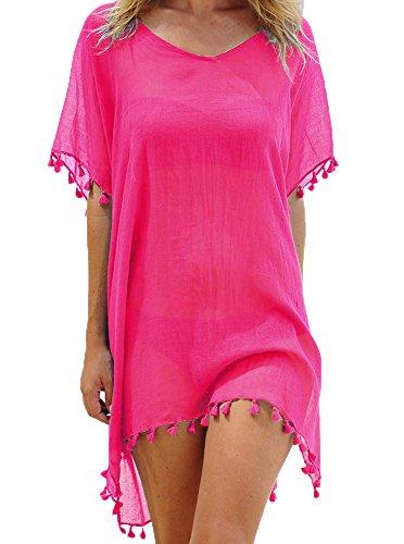 Damen Strandkleid Bikini Cover Up Quasten Strandponcho Sommer Bademode Freie Größe Rose Rot