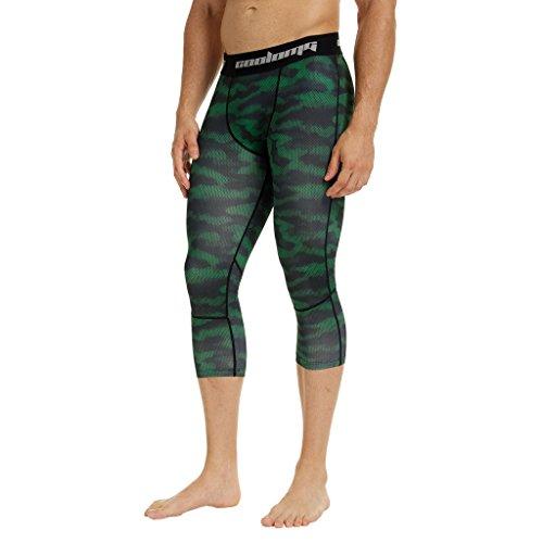 Coolomg compressione pantaloni da corsa a 3/4aderenti pantaloni capri leggings 20+ colori/modelli shorts primo strato, disponibile ad asciugatura rapida per uomo da ragazzo S1-BGE(3/4 length)