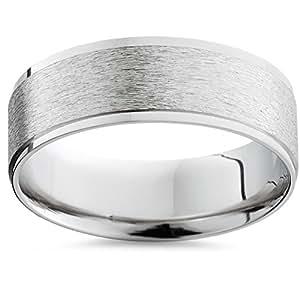 Pompeii3 Inc. Men's Solid 950 Pure Palladium Flat 7MM Wide Brushed Matte Wedding Ring Band - 9.5