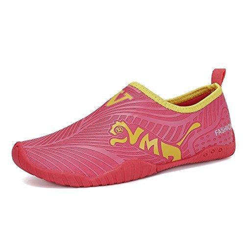 FLARUT Mädchen Jungen Wasser Schuhe Strandschuhe Aquaschuhe Schwimmschuhe Wellenreiten Schuhe für Gehen Yoga See Strand Garten Park Fahren Bootfahren Schwimmbad Surf(Rosa,32) Yoga