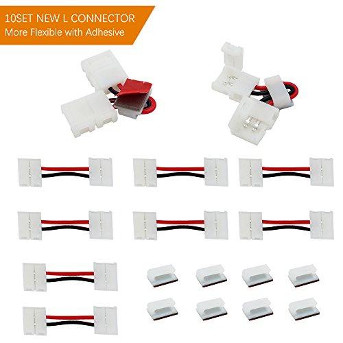 LED Connettore VEENY LED Strip Connector per 8 wide 5050/5730 monocolore striscia di luce 2 perni 10 Pack forma di L non impermeabile scatto striscia