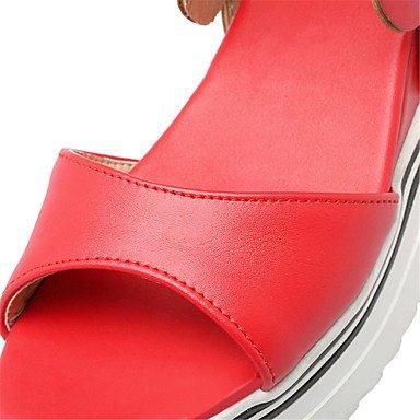 LvYuan Damen-Sandalen-Kleid Lässig-Kunstleder-Keilabsatz-Komfort Neuheit Club-Schuhe Loch Schuhe-Schwarz Gelb Rot Weiß Yellow