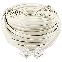 Cable de extension - TOOGOO(R)15 metros Cable de extension del conector de telefono RJ11 6P4C- Blanco caja