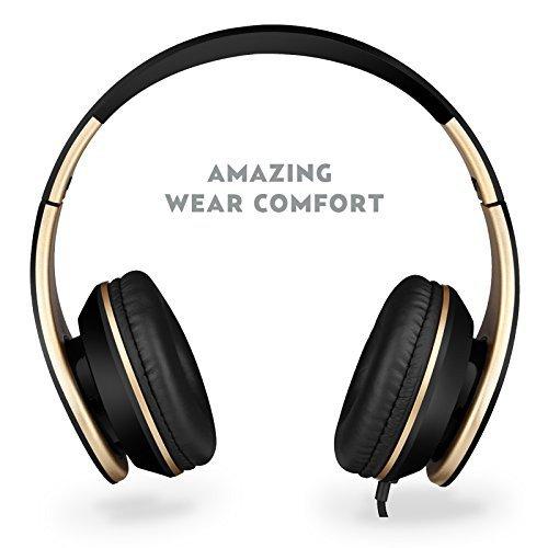 Kopfhörer: Sound Intone I65 faltbarer ON-Ear Kopfhörer, Hifi-Stereo Klanqualität, mit 3,5 mm Klinkestecker, drehbare Ohrpolster, Rauschreduzierung, integrierter Lautstärkeregelung und Mikrofon für PC/ Smart Phone/ Iphone6/ Ipad/ Samsung/ Psp/ Ipod/ Mp3 Player/ Android (Schwarz/Gold)
