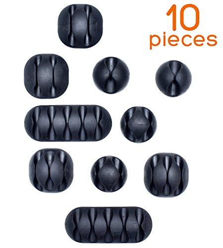 Set da 10 Clip adesive per cavi by Smart Storage | Pratico sistema di gestione cavi e fili per scrivania | Cavi per Computer, caricatori, Mouse, iPhone, casa, ufficio o auto | 5 misure, Nero