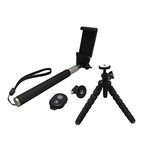 ultron selfie Kit, Selfie Zubehör Set bestehend aus Teleskoparm, Smarthone-Halterung, Bluetooth-Auslöser, GoPro Adapter, Tripod, Universal Tripod Kit