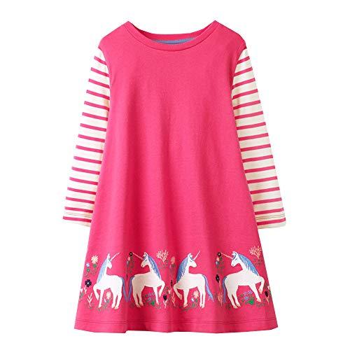 VIKITA Mädchen Baumwolle Langarm Streifen Tiere T-Shirt Kleid EINWEG JM7778 7T