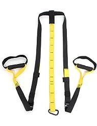 amzdeal® Suspension Trainer, Sistema de entrenamiento en suspensión, hacer ejercicios en casa, fortalecer los músculos, color negro + amarillo