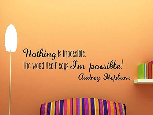 Dozili Wandtattoo Audrey Hepburn Zitat inspirierend motivierend Wandtattoo Home Decor Nothing is Impossible 106,7 x 35,6 cm