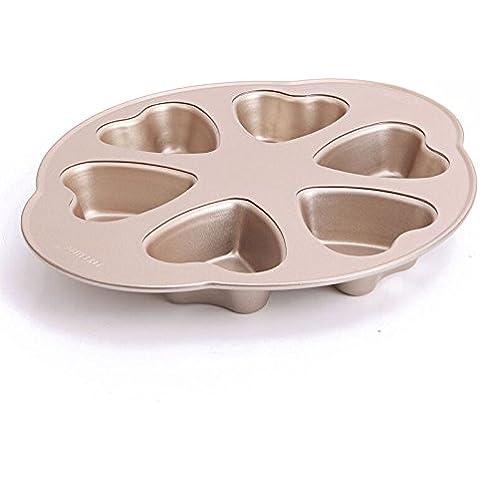 MyLifeUNIT antiadherente Pan, 6magdalenas para magdalenas, diseño de corazón, color dorado