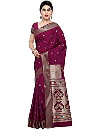 Varkala Silk Sarees Women's Raw Silk Paithani Saree With Blouse Piece(NYJB5012WN_Wine_Free Size)
