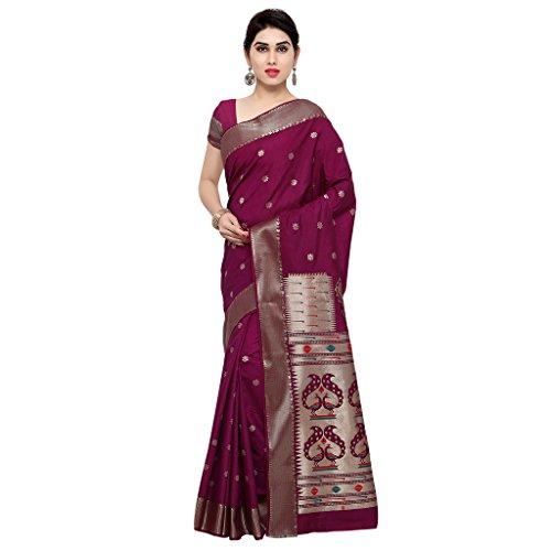 Varkala Silk Sarees Women's Raw Silk Paithani Saree With Blouse Piece(NYJB5012WN_Wine_Free Size)