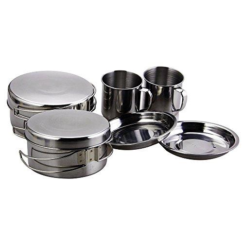 BeGrit Escursione di Campeggio Esterna Backpacking Picnic Cookware Mini Insieme di Cottura (8pcs / Set, 410 Acciaio Inossidabile)
