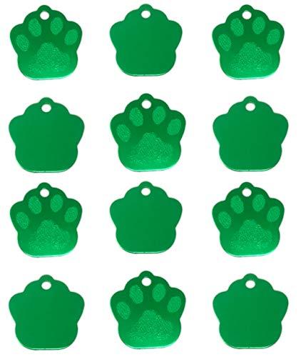 TheAwristocrat Hundemarken für Hunde und Katzen, unbeschriftet, Verschiedene Formen und Farben, 12 Stück, grün -