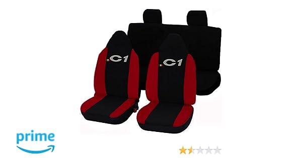 schwarz rot Lupex Shop 17239-01 Citroen C1 zweifarbige Sitzbez/üge