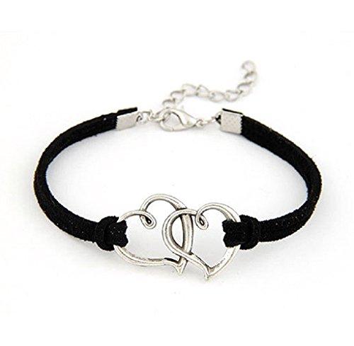 Braccialetto Familizo Regalo del braccialetto tessuto 1PC amore delle donne del cuore della lega a mano corda gioielli Charm_Nero