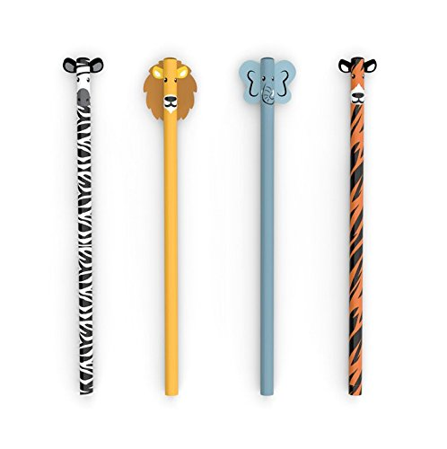 Kikkerland 4348 Safari Animal Pencil S/4