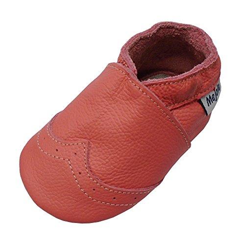 Mejale Weiche Sohle Leder Babyschuhe Lauflernschuhe Krabbelschuhe Kleinkind Kinderschuhe Hausschuhe(Neon Tangerine Pink,18-24 Monate)