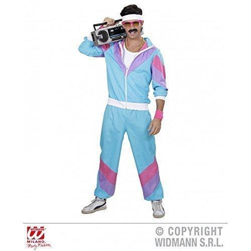 Jogginganzug / Trainingsanzug / Kostüm / Männerkostüm / Herrenkostüm 80er / 80 er Jahre in blau - pink Kostüm Gr. S = (Kostüme Party Jahrzehnt)