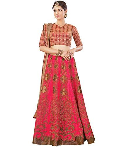 Indian Ethnicwear Bollywood Pakistani Wedding Dark Pink Flare Lehenga Semi-stitched