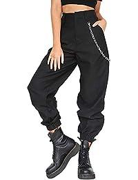 Damen Haremshosen Baggy Hip Hop Hosen Tanz Jogging Schweiß Casual  Streetwear Hose Pumphose mit a Kette c50956ada6