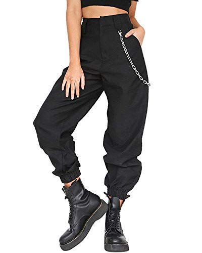 Womens Casual Harem Baggy Hip Hop Hosen Tanz Jogging Sweat Hose Hosen Cool Street Hose + 1PC Kette Schwarz EU Medium -