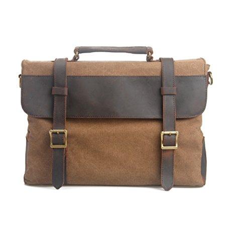 Fashion Plaza American europeo e retro, da uomo, in tela con borsa da spalla in pelle, 99 x 7,5 x 28 cm, C5099, grigio (Grigio) - C5099 Caffè