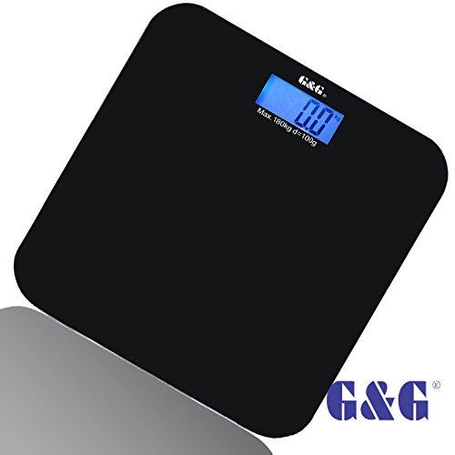 G&G A6 180kg DESIGN Digitalwaage Personenwaage AAA Batteriebetrieb GLAS Scale (Schwarz)