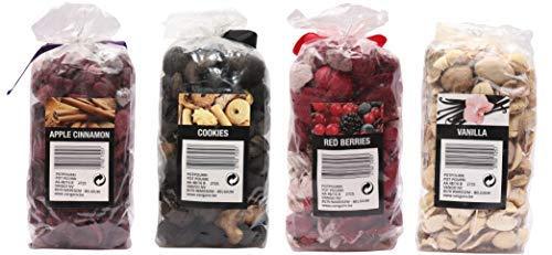 Aura Apple Cinnamon, Cookies, Red Berries, Vanilla Home Fragrance Potpourries Pack of 4-1260gm, 315gm Each, Apple Cinnamon, Cookies, Red Berries, Vanilla Fragrances