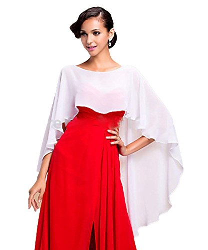 VIPbridal Chiffon Stola Schal für Kleider Brautkleid Abendkleid Hochzeit Abend Gala Empfang (Ivory)